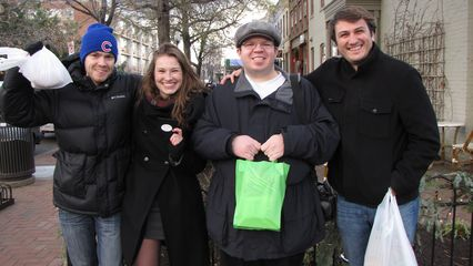 At Eastern Market with Alex Patton, Genna, and Alex Beauchamp. Compare this to a similar photo taken at Eastern Market in 2010.