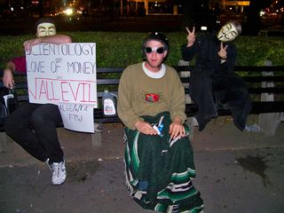 Three DC Anons parked themselves at the edge of Dupont Circle, and saw us off on our march. What a surprise it was to see them at a World Bank march! People in Guy Fawkes masks were the last thing I would have expected to see...
