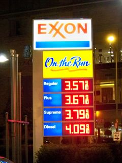 Gas prices displayed at an Exxon station along our march route. The price of gasoline began to fall dramatically not long after this particular weekend.