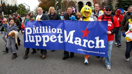 Million Puppet March demonstrators in the street
