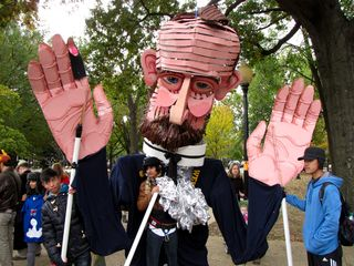 """There were also several street puppets around. This one was based on William R. """"Sawney"""" Webb."""