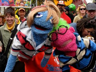 On the march, I saw plenty of puppets and costumes. Some, like these, were in the style of the Muppets.