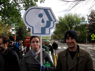 Some of the protest signs played on the PBS logo a bit.
