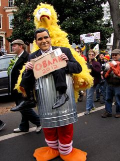 This was by far the best one of all as far as I was concerned, showing Big Bird taking out the trash - with Mitt Romney in the can. The person in the outfit was the top half of Mitt Romney (wearing a Mitt Romney mask), and also Big Bird's legs. Pretty neat.