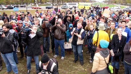 The crowd, assembled at the final rally location.