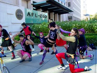 The radical cheerleaders in action.
