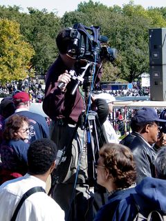Cameras were strategically placed all around the speaker's area, mostly on platforms in order to get a clear view.