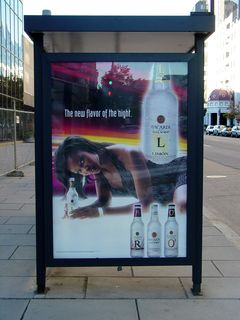 We ran into this ad for Bacardi Silver on the way up to the Infoshop, plastered on the side of a bus shelter. We mused about what the ad was really trying to tell us.