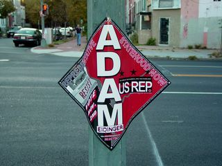 """Near Giant, I ran into a campaign sign which I found interesting. This sign was for Adam Eidinger's campaign for the US """"Shadow"""" Representative for DC under the banner of the DC Statehood Green Party."""