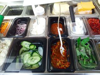 Various fixings for sandwiches and salads at Metro Cafe, a sandwich shop in the basement of my office building.