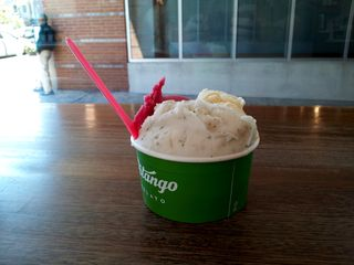 """While on an errand in Logan Circle, I stopped in at Pitango Gelato on the advice of a friend. Funny, though, in how I finally got to the point of getting it. I was a little indecisive about what I wanted (gelato is not my specialty), and the woman working behind the counter would have been more than happy to give me a sample of every single flavor in the place. I ultimately had to stop her and just pick something, saying, """"You're going to lose the sale if you keep this up, because you're going to fill me up on free samples."""" Then I picked. This was the result of my selections: pomegranate, mojito, and passion fruit."""