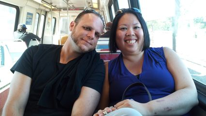 On Saturday of Memorial Day weekend, my cousin Mike and his girlfriend Tara came down from New Jersey, and we spent the day together at the National Zoo. This photo was on the Metro afterwards, where we took CAF 5132 back to Glenmont.