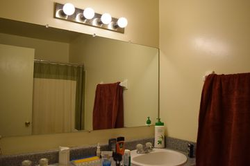 The bathroom. That room had my first LED bulbs in it. Rest assured that I took those bulbs with me when I left.