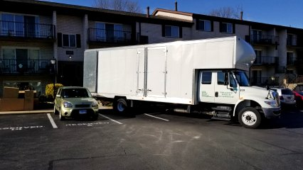 The moving truck has arrived.