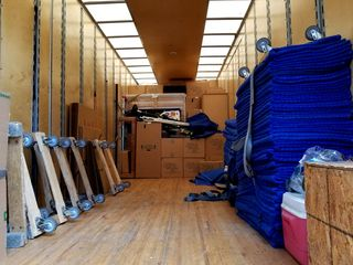 My stuff, stacked up in the truck, ready for transport.