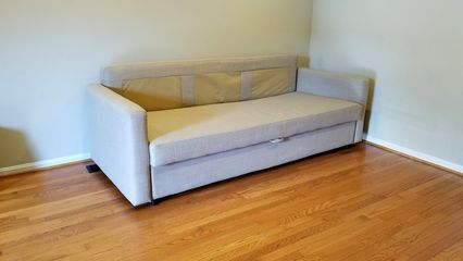 First item in was the couch, in its new position in the living room.