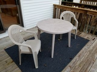 The lawn furniture, now on the deck.