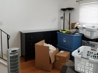 Elyse, Aaron, and I also got my new dresser put together. Finally, I could stop living out of boxes and baskets.