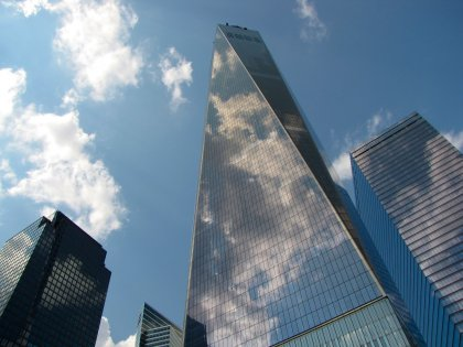 One World Trade Center, viewed from the 9/11 Memorial.