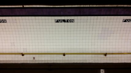 Wall tile on the IND Eighth Avenue Line platform. As I understand it, this is typical Independent Subway styling.