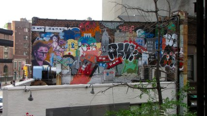 The mural, as viewed from the upper level of the McDonald's.