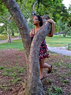 Two photos of Doreen with the tree. She was watching a squirrel move around the tree.