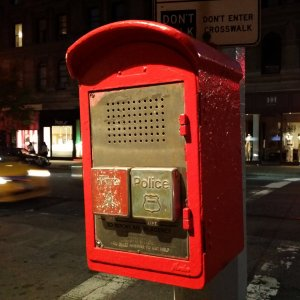 Near Starbucks, we spotted another fire and police call box. Unlike the one that we spotted in Greenwich Village, this one had a rounded top.