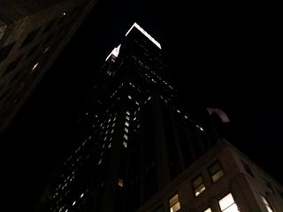 The Empire State Building from below, diagonal from the building and across from the Wendy's.