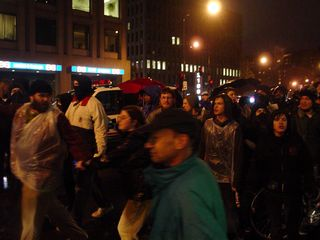 At the St. Gregory, most demonstrators were out in the street, well away from much of the action.