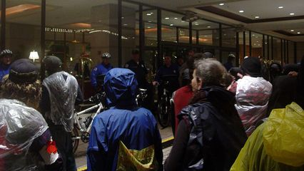 In front of the entrance to the Fairmont, the police and members of the hotel's staff guarded the entrances, in order to maintain a clear space between us and those against whom we were protesting.