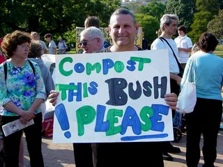 The sentiment at this event was very anti-war, and even more so anti-Bush, as conveyed through the signs carried by some of the participants.
