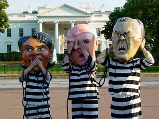 During the speeches, Condoleezza Rice, Dick Cheney, and Donald Rumsfeld played innocent with the classic see-no-evil, hear-no-evil, speak-no-evil bit...