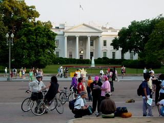 After the event was over and I was preparing to leave, a number of people remained in front of the White House.