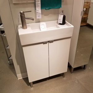 Vanity and sink combination at IKEA. We had considered buying this combination for the bathroom in the basement, but never acted on it as other projects soon took priority.