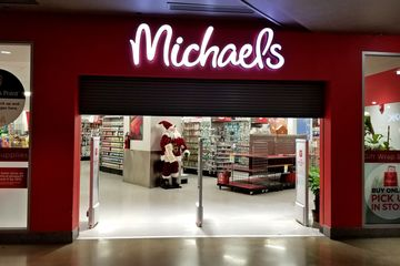 The entrance to the Michaels store at Ellsworth Place in downtown Silver Spring, just before closing.