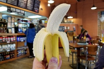 We later went to Frederick Coffee Company, where I had a banana. The banana was pretty good, and then we put the peel on the ground (don't slip!) for a photo before disposing of it properly.