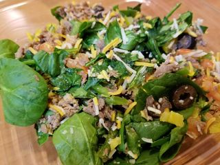 I try out a salad from Subway. For the record, it's not bad by any means. Definitely a good solution when you find yourself going to Subway.