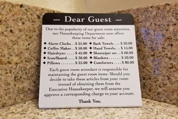 Sign in our room at the Residence Inn in Harrisburg, advising guests of charges that would be assessed for missing linens.