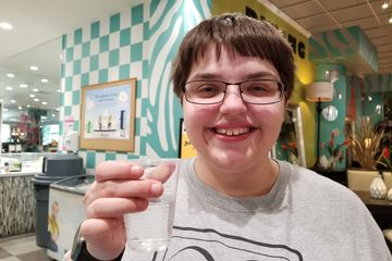 On March 3, we went around Rockville. Here, at Bob's Discount Furniture, Elyse and I each had a glass of water.