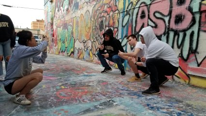 In Baltimore, we visited Graffiti Alley, which is a place where graffiti is legal and encouraged. We photographed around, we interacted with a group visiting from Vanderbilt University in Tennessee, and generally had a good time. We also met up with a friend of ours who runs the Crumbling Decay America page, which is what first got me interested in drone photography.