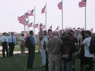 Waiting outside the flag circle, looking for the alleged Nazis.