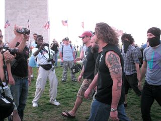 The alleged Nazis have been spotted - two big, burly guys with beards, and a third, younger guy.