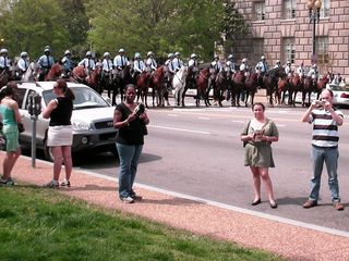 This row of mounted police officers made up the front of the formation.