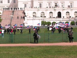 Meanwhile, beyond the police officers, the Nazis got into position at the west front of the Capitol.