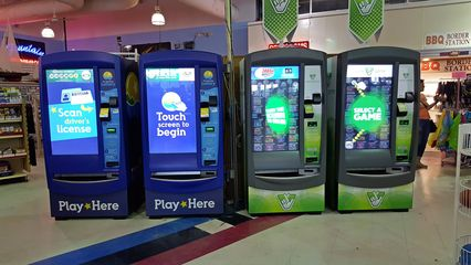 Lottery vending machines straddling the border, selling North Carolina and Virginia lottery tickets on their respective sides.