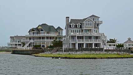 Beach houses in Hatteras, seen from our departing ferry.