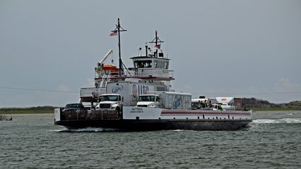 TheHatteras, a River-class ferry carrying, among other vehicles, beer and snack food trucks.