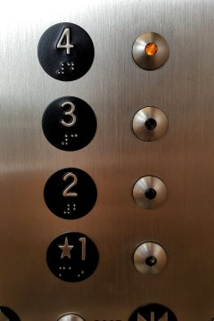 Detail of the elevator buttons.