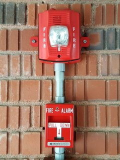 The fire alarm at the Anchorage Inn.