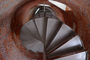 View upward, towards the top of the lighthouse.